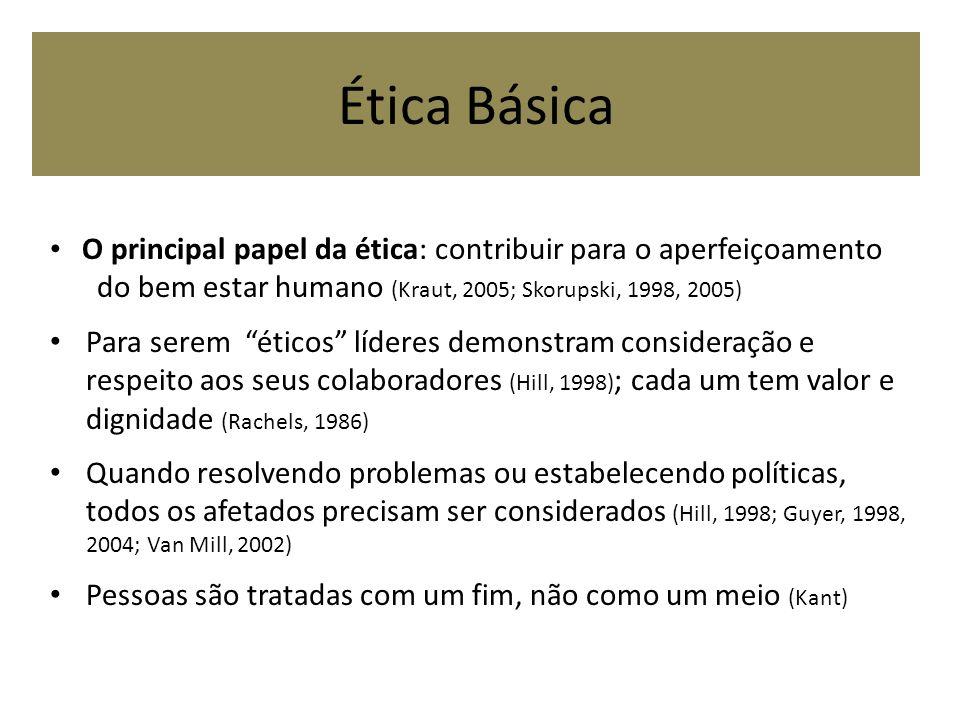 Ética Básica O principal papel da ética: contribuir para o aperfeiçoamento do bem estar humano (Kraut, 2005; Skorupski, 1998, 2005) Para serem éticos