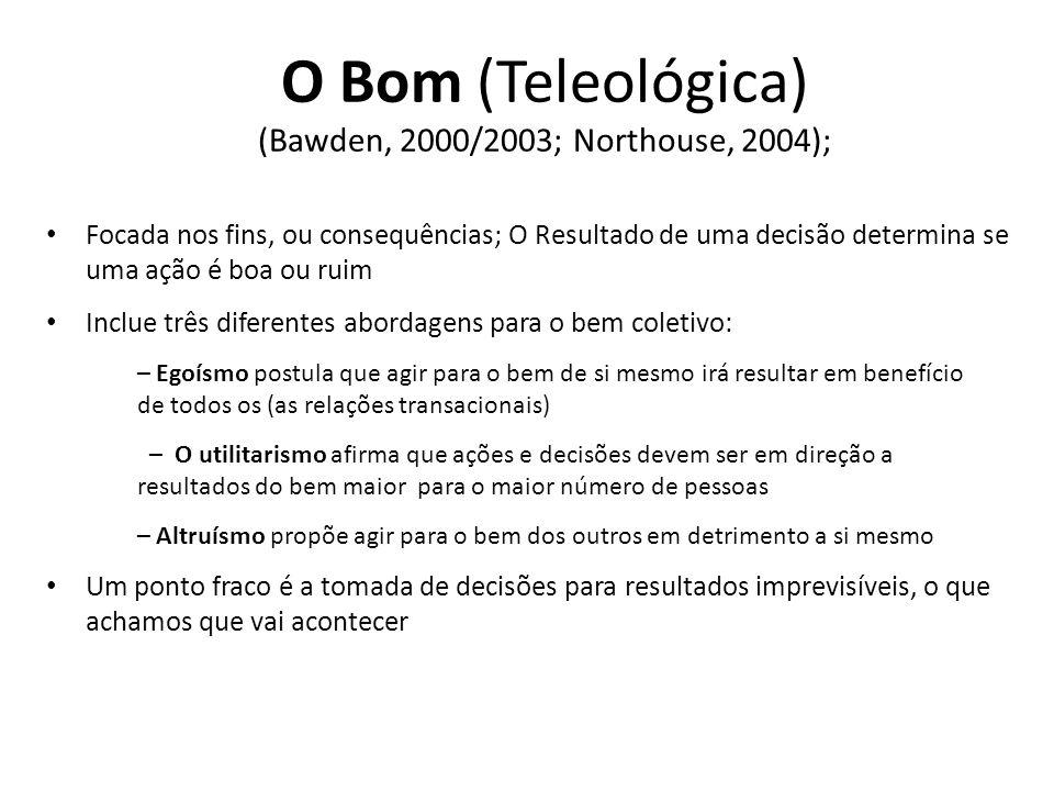 O Bom (Teleológica) (Bawden, 2000/2003; Northouse, 2004); Focada nos fins, ou consequências; O Resultado de uma decisão determina se uma ação é boa ou