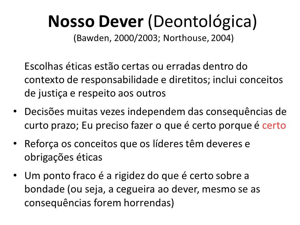 Nosso Dever (Deontológica) (Bawden, 2000/2003; Northouse, 2004) Escolhas éticas estão certas ou erradas dentro do contexto de responsabilidade e diret