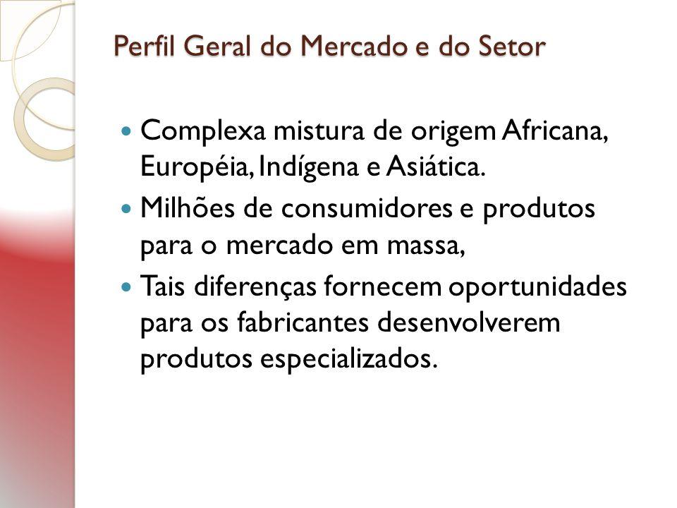 Perfil Geral do Mercado e do Setor Complexa mistura de origem Africana, Européia, Indígena e Asiática. Milhões de consumidores e produtos para o merca
