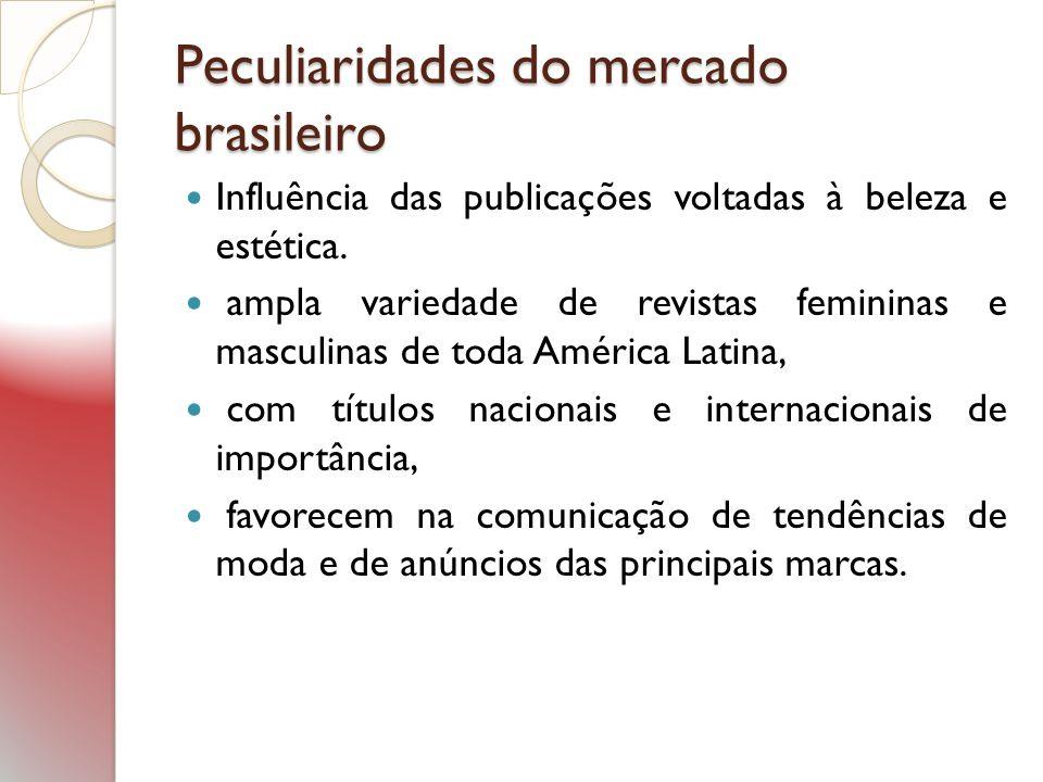 Peculiaridades do mercado brasileiro Influência das publicações voltadas à beleza e estética. ampla variedade de revistas femininas e masculinas de to