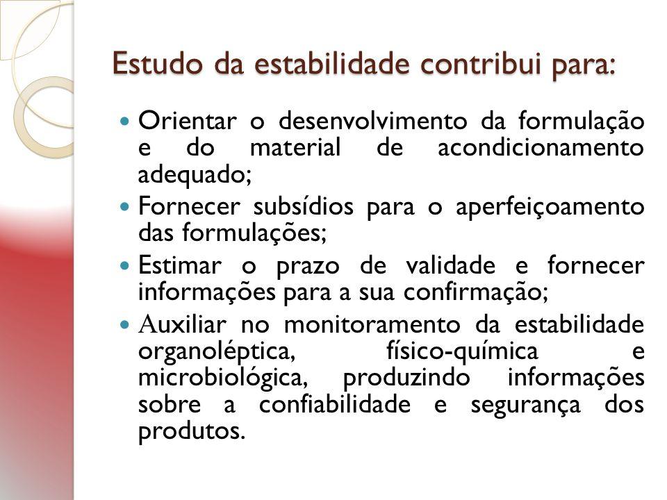 Estudo da estabilidade contribui para: Orientar o desenvolvimento da formulação e do material de acondicionamento adequado; Fornecer subsídios para o