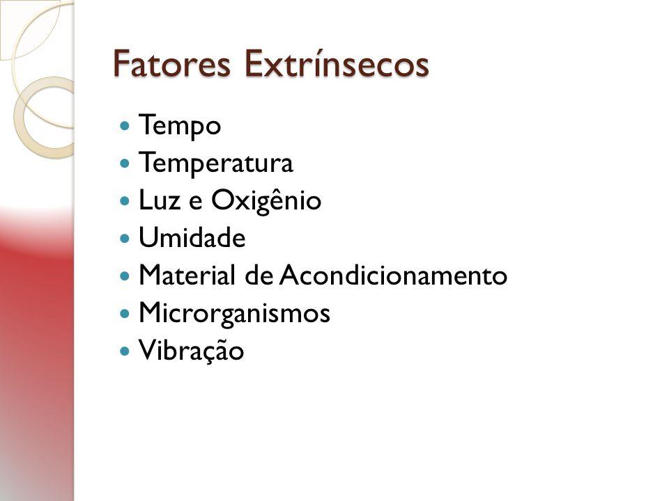 Fatores Extrínsecos Tempo Temperatura Luz e Oxigênio Umidade Material de Acondicionamento Microrganismos Vibração