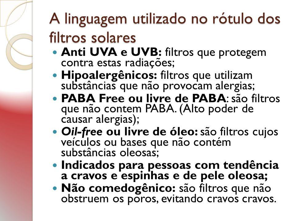 A linguagem utilizado no rótulo dos filtros solares Anti UVA e UVB: filtros que protegem contra estas radiações; Hipoalergênicos: filtros que utilizam