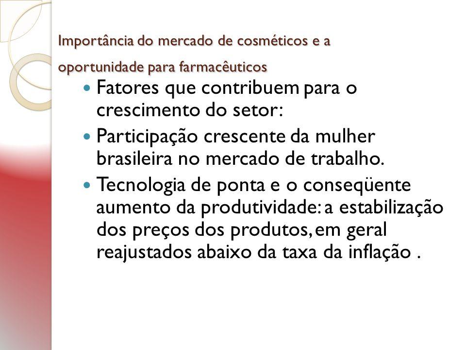 Importância do mercado de cosméticos e a oportunidade para farmacêuticos Importância do mercado de cosméticos e a oportunidade para farmacêuticos L ançamentos constantes: atendendo cada vez mais às necessidades do mercado.