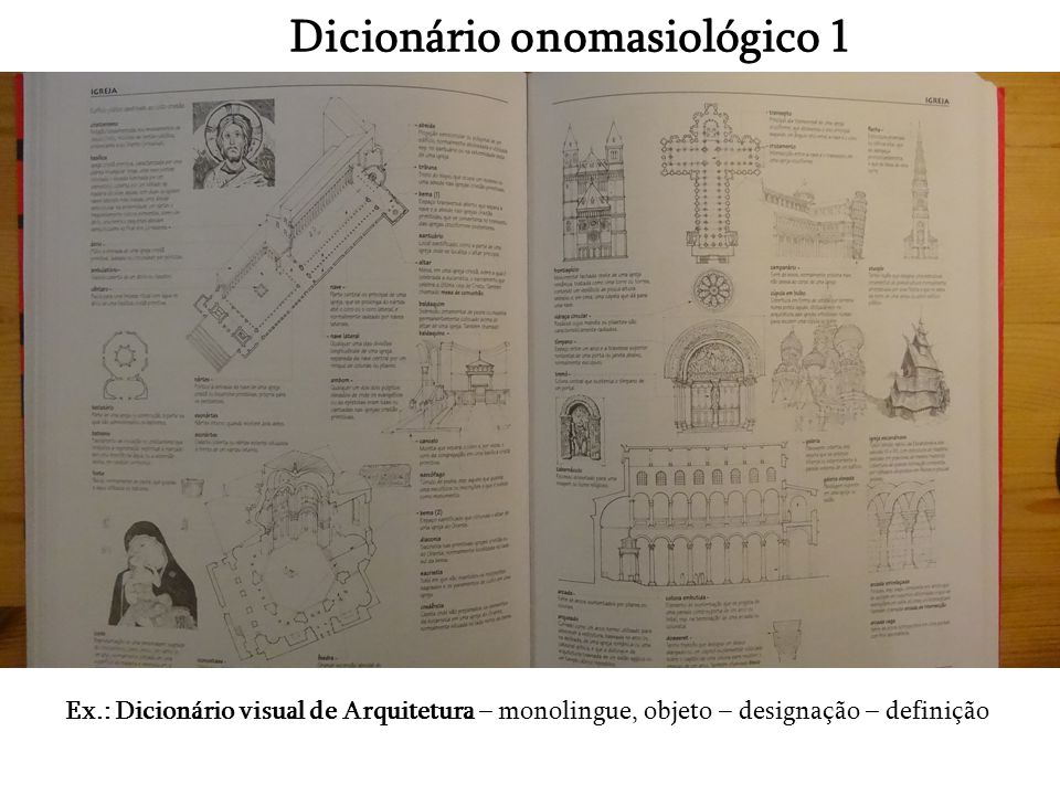 Dicionário onomasiológico 1 Ex.: Dicionário visual de Arquitetura – monolingue, objeto – designação – definição