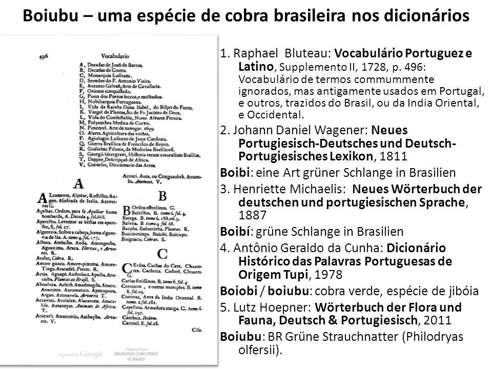 Boiubu – uma espécie de cobra brasileira nos dicionários 1. Raphael Bluteau: Vocabulário Portuguez e Latino, Supplemento II, 1728, p. 496: Vocabulário