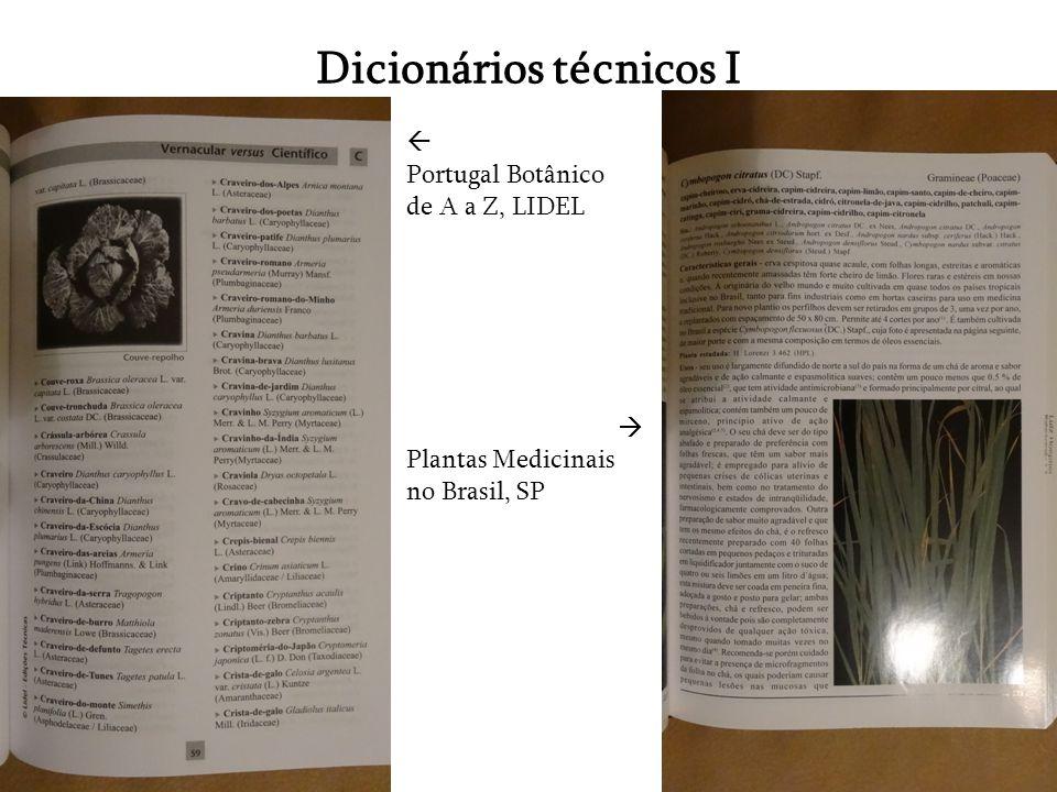 Dicionários técnicos I Portugal Botânico de A a Z, LIDEL Plantas Medicinais no Brasil, SP