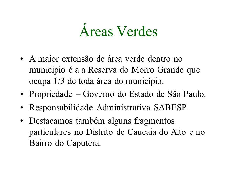 Áreas Verdes A maior extensão de área verde dentro no município é a a Reserva do Morro Grande que ocupa 1/3 de toda área do município. Propriedade – G