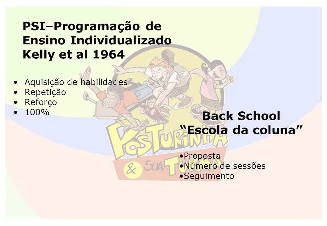 PSI–Programação de Ensino Individualizado Kelly et al 1964 Aquisição de habilidades Repetição Reforço 100% Back School Escola da coluna Proposta Númer