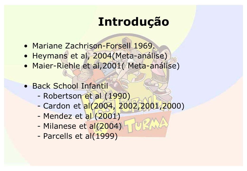 Introdução Mariane Zachrison-Forsell 1969. Heymans et al, 2004(Meta-análise) Maier-Riehle et al,2001( Meta-análise) Back School Infantil - Robertson e