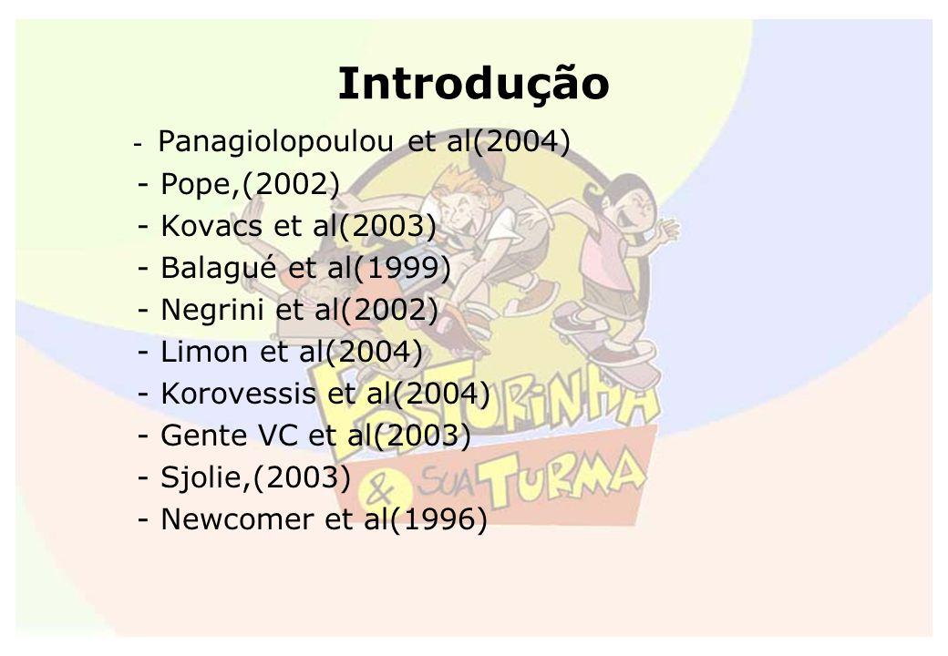 Introdução - Panagiolopoulou et al(2004) - Pope,(2002) - Kovacs et al(2003) - Balagué et al(1999) - Negrini et al(2002) - Limon et al(2004) - Korovess