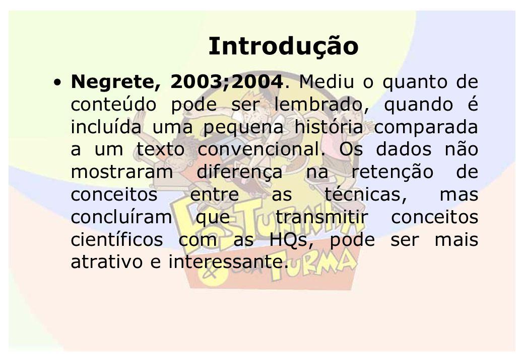 Introdução Negrete, 2003;2004. Mediu o quanto de conteúdo pode ser lembrado, quando é incluída uma pequena história comparada a um texto convencional.