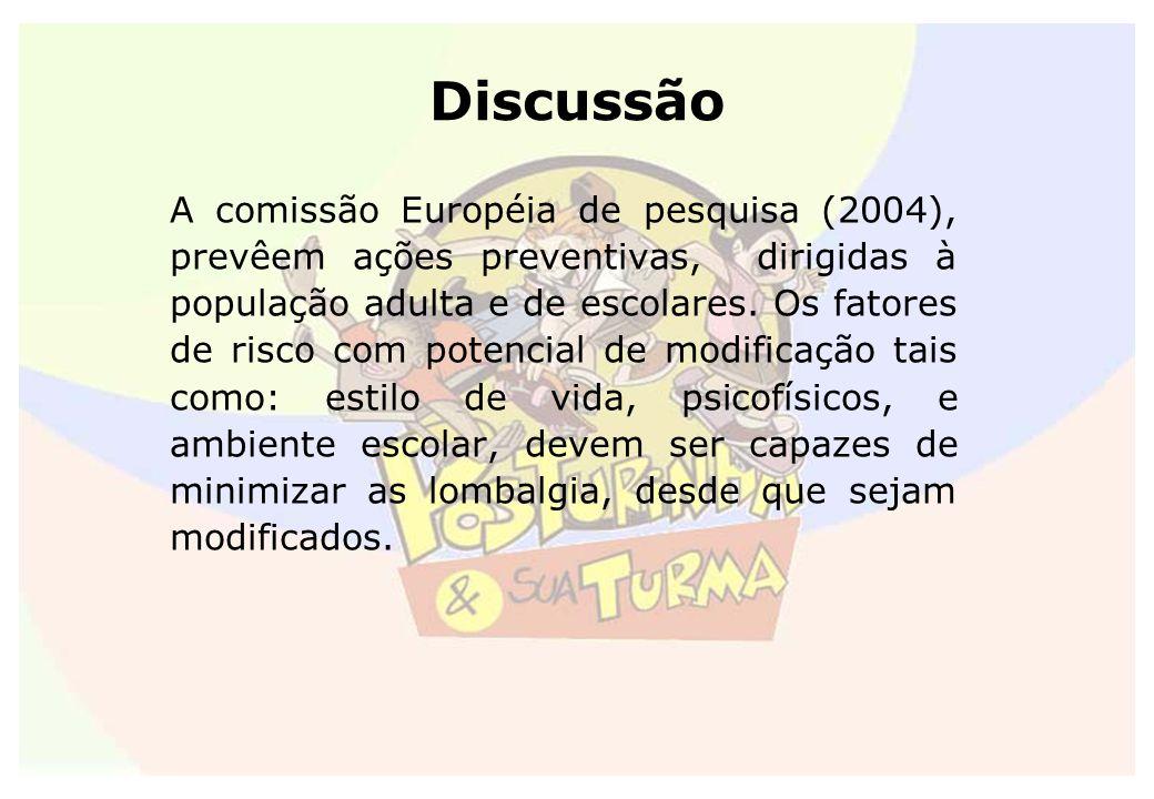 Discussão A comissão Européia de pesquisa (2004), prevêem ações preventivas, dirigidas à população adulta e de escolares. Os fatores de risco com pote