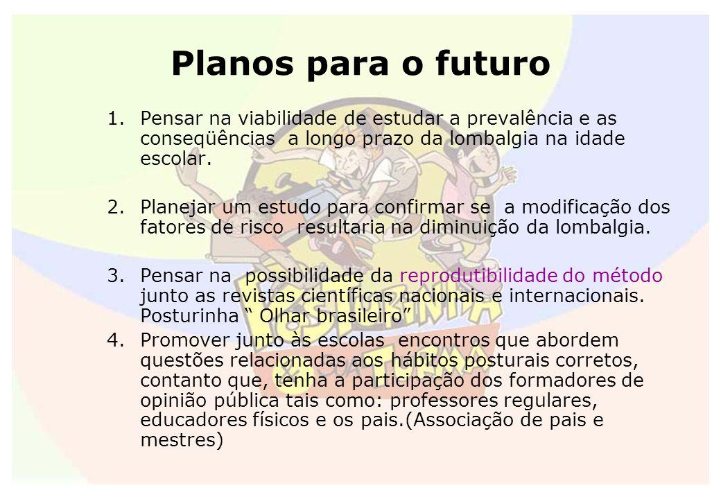 Planos para o futuro 1.Pensar na viabilidade de estudar a prevalência e as conseqüências a longo prazo da lombalgia na idade escolar. 2.Planejar um es
