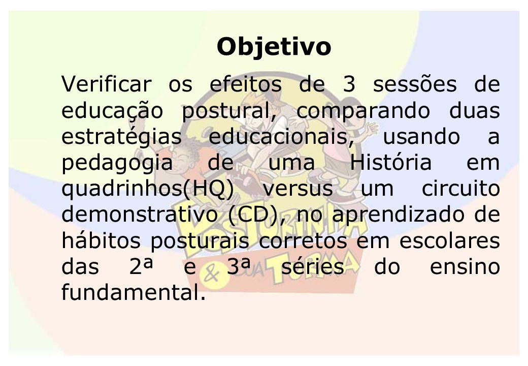 Objetivo Verificar os efeitos de 3 sessões de educação postural, comparando duas estratégias educacionais, usando a pedagogia de uma História em quadr