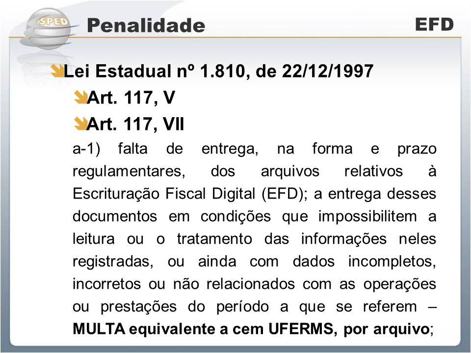 Penalidade EFD Lei Estadual nº 1.810, de 22/12/1997 Art.