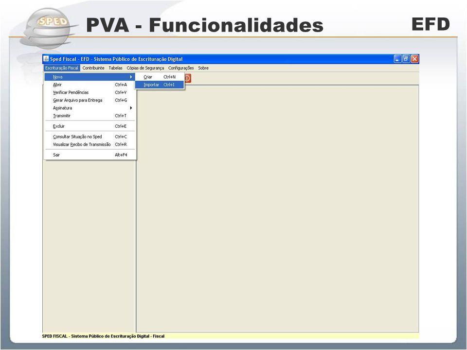 PVA - Funcionalidades EFD