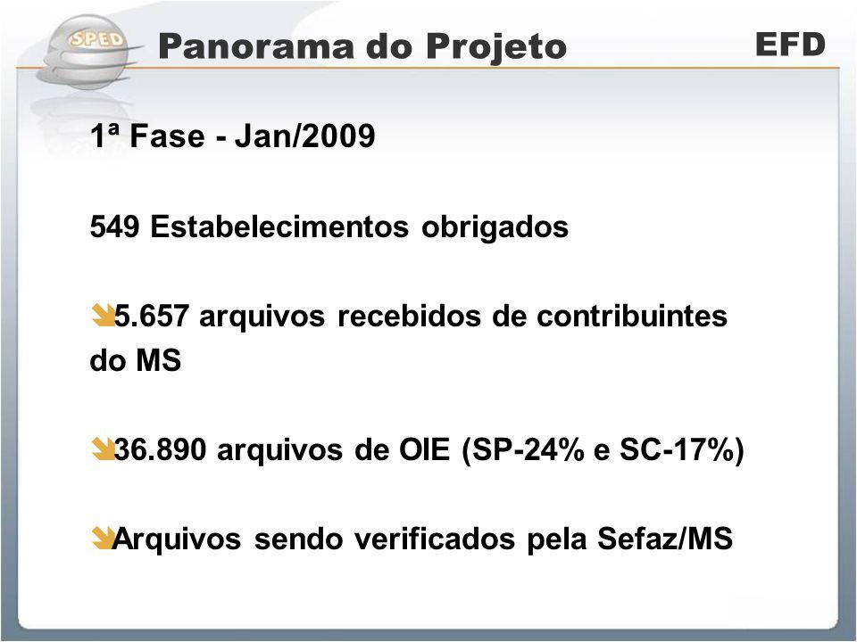 Panorama do Projeto EFD 2ª Fase - Jan/2010 840 Estabelecimentos obrigados 844 arquivos recebidos de contribuintes do MS 2.701 arquivos de OIE (SP-23% e SC-20%) Arquivos sendo verificados pela Sefaz/MS