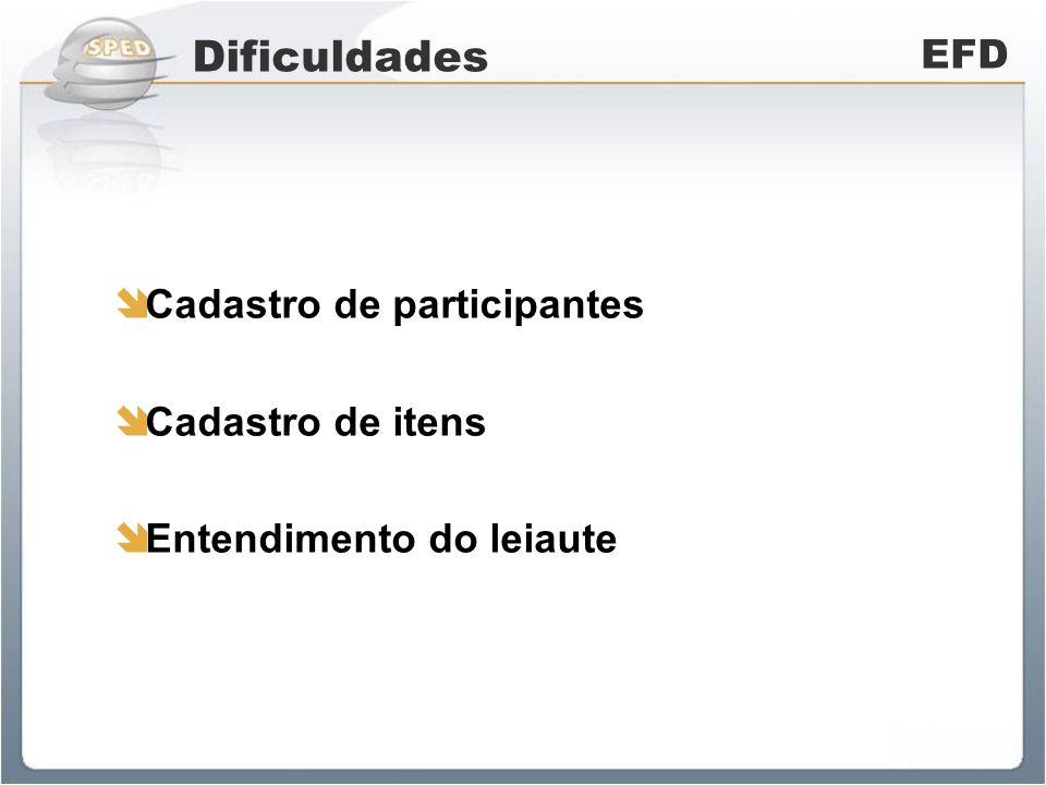 Dificuldades EFD Cadastro de participantes Cadastro de itens Entendimento do leiaute