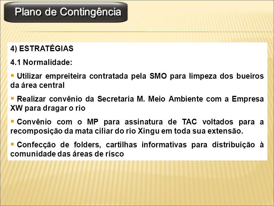 Plano de Contingência 4) ESTRATÉGIAS 4.1 Normalidade: Utilizar empreiteira contratada pela SMO para limpeza dos bueiros da área central Realizar convê