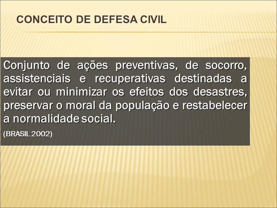 CONCEITO DE DEFESA CIVIL Conjunto de ações preventivas, de socorro, assistenciais e recuperativas destinadas a evitar ou minimizar os efeitos dos desa