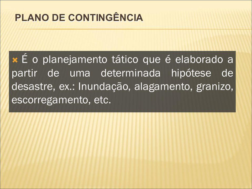 PLANO DE CONTINGÊNCIA É o planejamento tático que é elaborado a partir de uma determinada hipótese de desastre, ex.: Inundação, alagamento, granizo, e