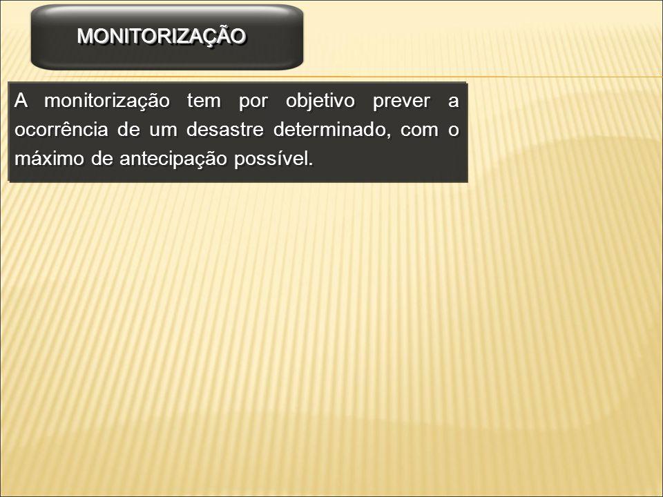 A monitorização tem por objetivo prever a ocorrência de um desastre determinado, com o máximo de antecipação possível. MONITORIZAÇÃOMONITORIZAÇÃO