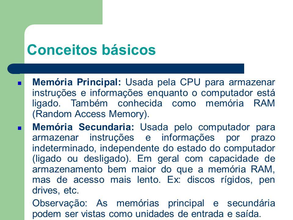 Conceitos básicos Memória Principal: Usada pela CPU para armazenar instruções e informações enquanto o computador está ligado.