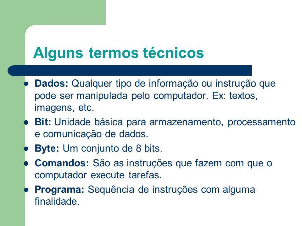 Alguns termos técnicos Dados: Qualquer tipo de informação ou instrução que pode ser manipulada pelo computador.
