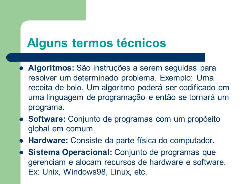 Alguns termos técnicos Algoritmos: São instruções a serem seguidas para resolver um determinado problema.