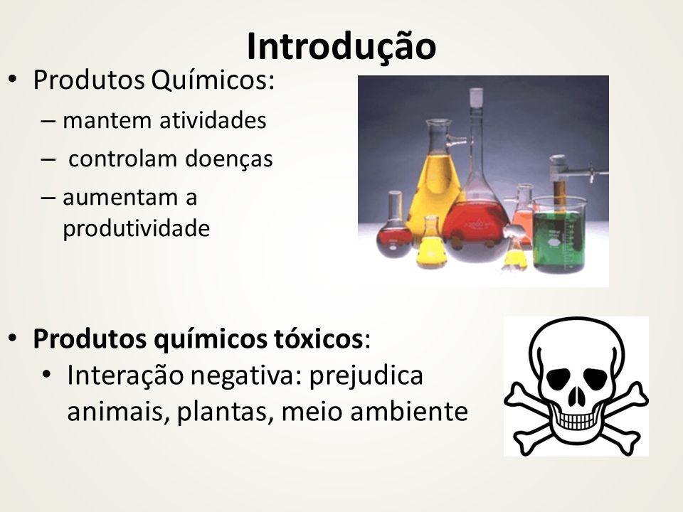 Introdução Produtos Químicos: – mantem atividades – controlam doenças – aumentam a produtividade Produtos químicos tóxicos: Interação negativa: prejud