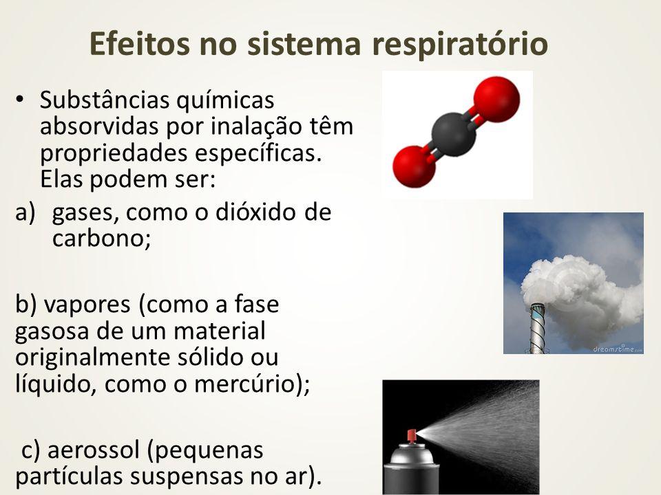 Efeitos no sistema respiratório Substâncias químicas absorvidas por inalação têm propriedades específicas. Elas podem ser: a)gases, como o dióxido de