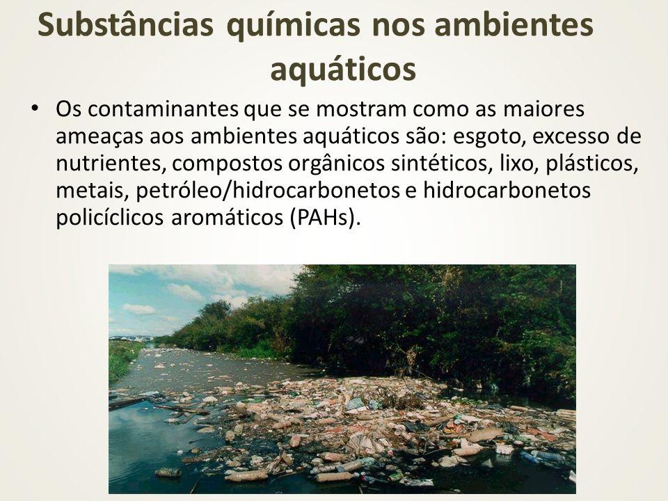 Os contaminantes que se mostram como as maiores ameaças aos ambientes aquáticos são: esgoto, excesso de nutrientes, compostos orgânicos sintéticos, li