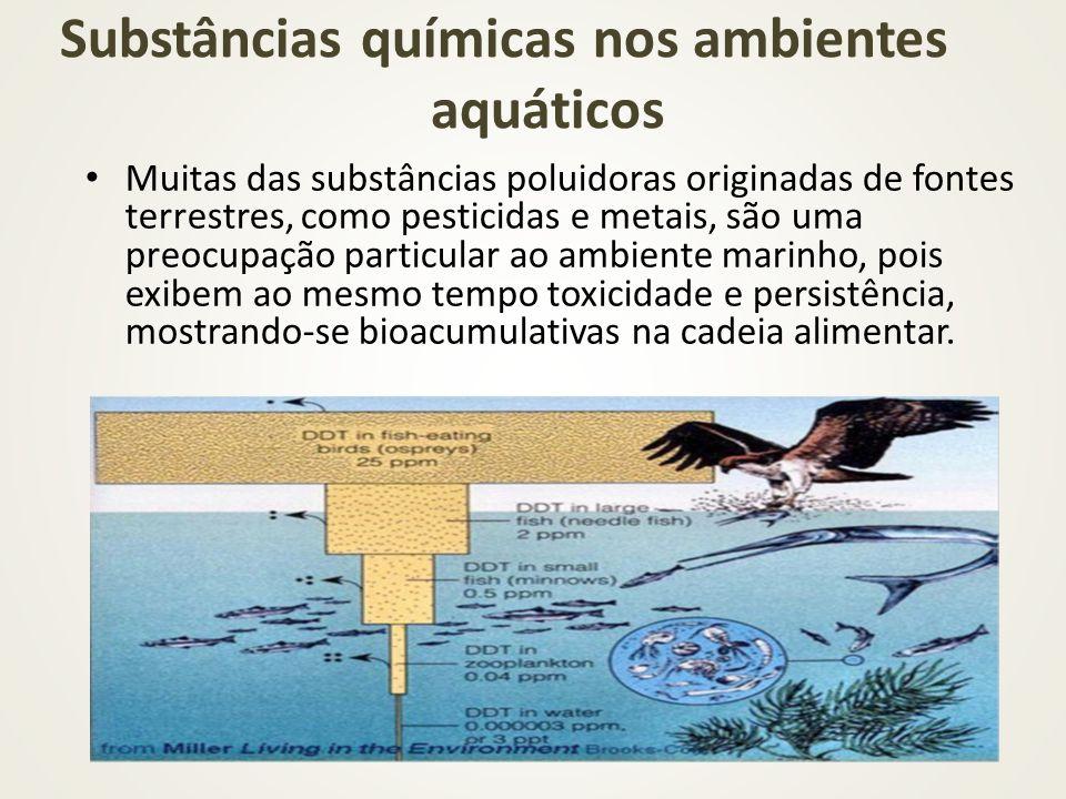 Muitas das substâncias poluidoras originadas de fontes terrestres, como pesticidas e metais, são uma preocupação particular ao ambiente marinho, pois