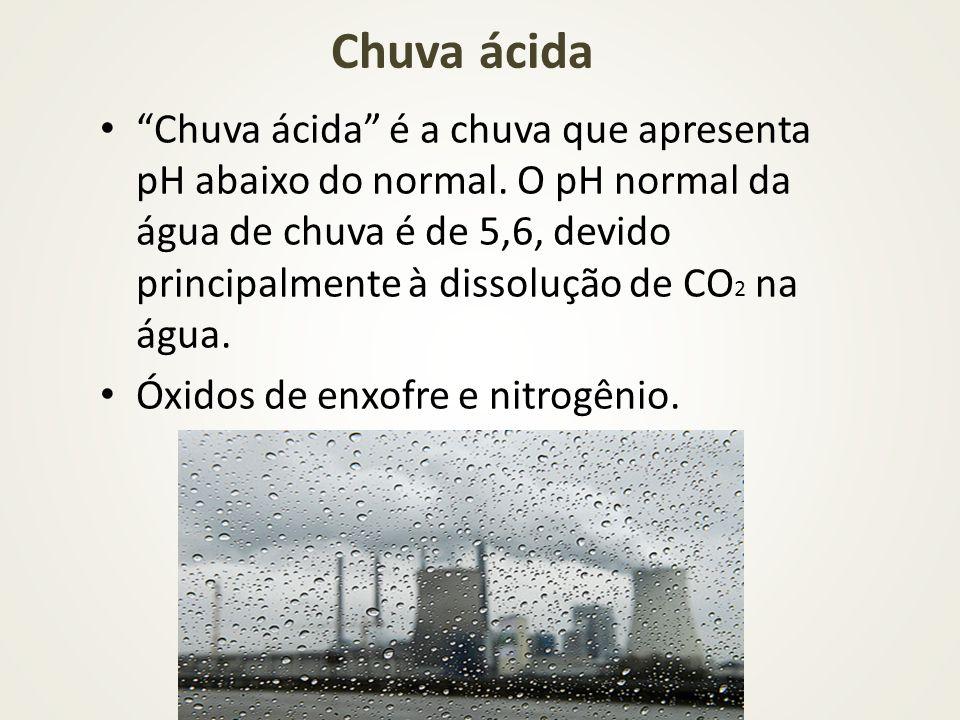 Chuva ácida Chuva ácida é a chuva que apresenta pH abaixo do normal. O pH normal da água de chuva é de 5,6, devido principalmente à dissolução de CO 2