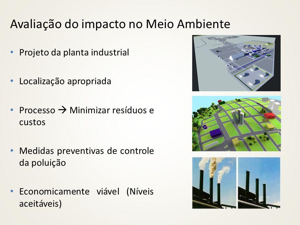 Avaliação do impacto no Meio Ambiente Projeto da planta industrial Localização apropriada Processo Minimizar resíduos e custos Medidas preventivas de