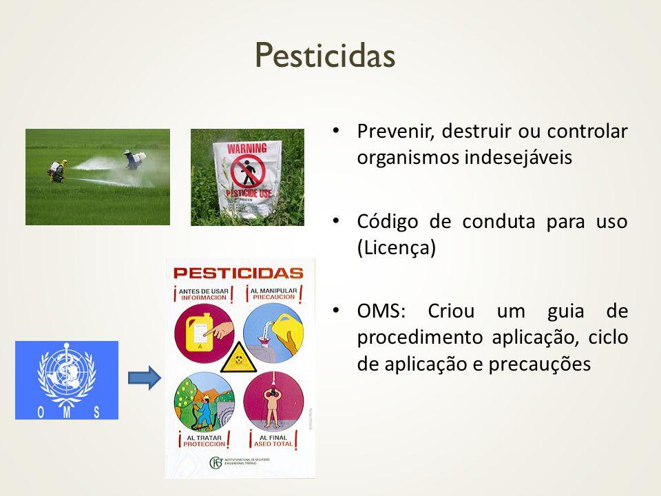 Pesticidas Prevenir, destruir ou controlar organismos indesejáveis Código de conduta para uso (Licença) OMS: Criou um guia de procedimento aplicação,