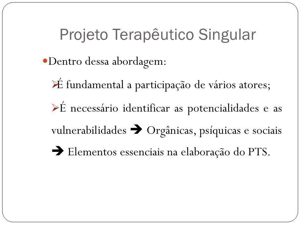 Projeto Terapêutico Singular Dentro dessa abordagem: É fundamental a participação de vários atores; É necessário identificar as potencialidades e as v