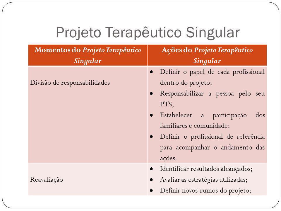 Projeto Terapêutico Singular Momentos do Projeto Terapêutico Singular Ações do Projeto Terapêutico Singular Divisão de responsabilidades Definir o pap
