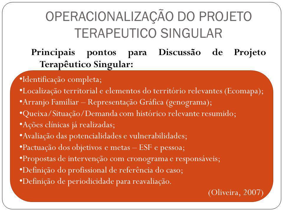 OPERACIONALIZAÇÃO DO PROJETO TERAPEUTICO SINGULAR Principais pontos para Discussão de Projeto Terapêutico Singular: Identificação completa; Localizaçã