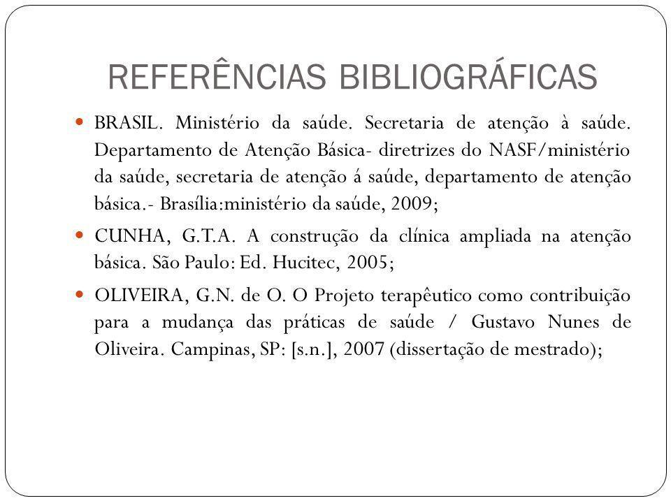 REFERÊNCIAS BIBLIOGRÁFICAS BRASIL. Ministério da saúde. Secretaria de atenção à saúde. Departamento de Atenção Básica- diretrizes do NASF/ministério d