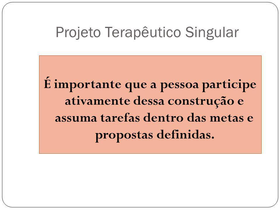Projeto Terapêutico Singular É importante que a pessoa participe ativamente dessa construção e assuma tarefas dentro das metas e propostas definidas.