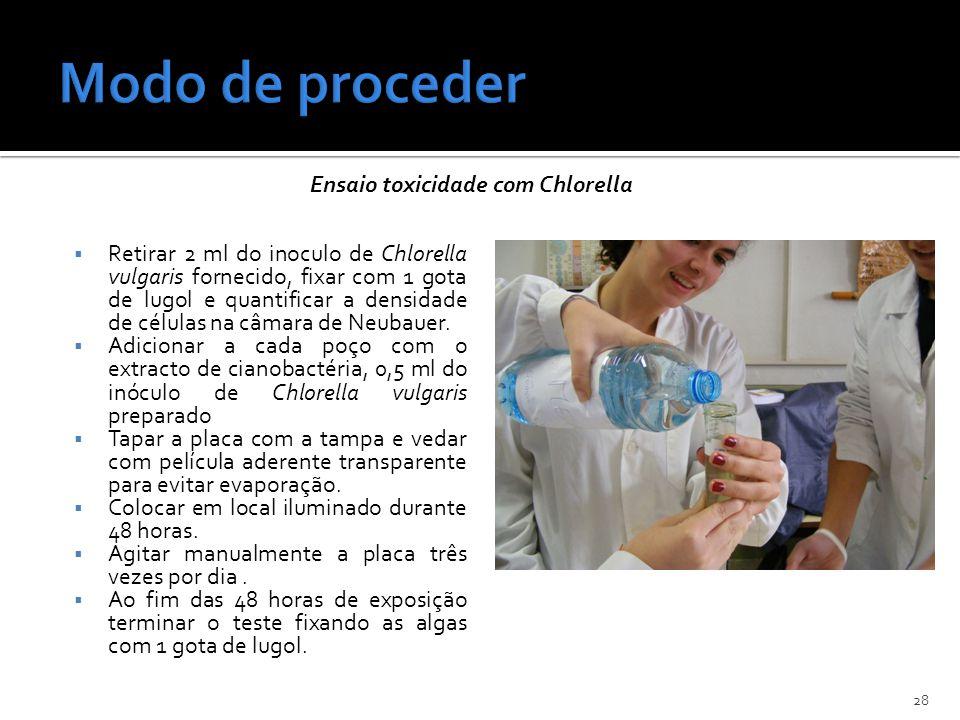 Retirar 2 ml do inoculo de Chlorella vulgaris fornecido, fixar com 1 gota de lugol e quantificar a densidade de células na câmara de Neubauer. Adicion