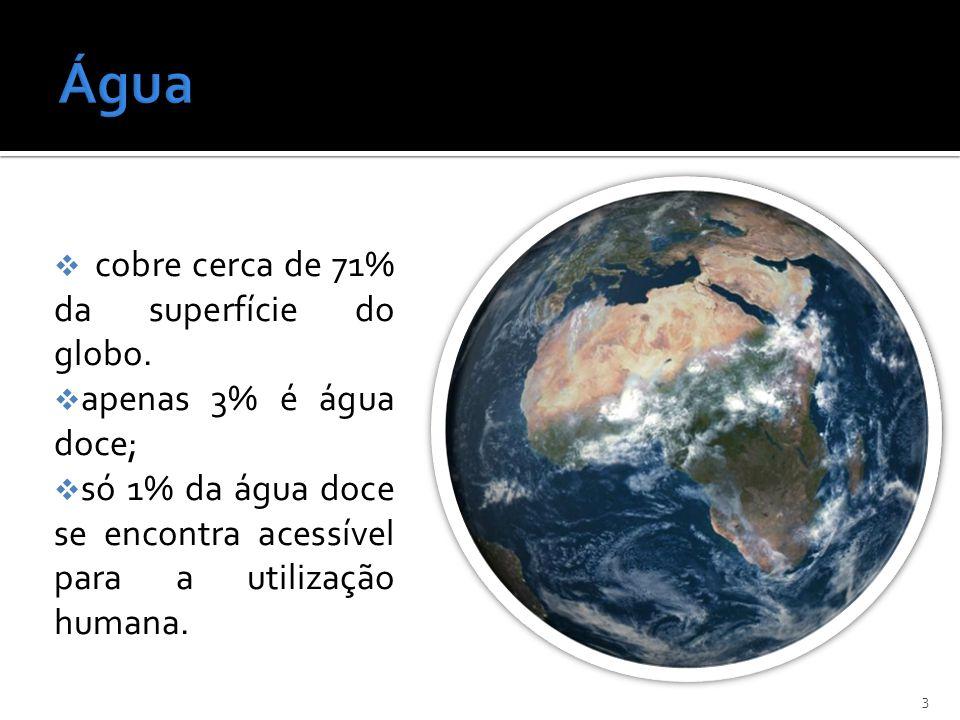 cobre cerca de 71% da superfície do globo. apenas 3% é água doce; só 1% da água doce se encontra acessível para a utilização humana. 3