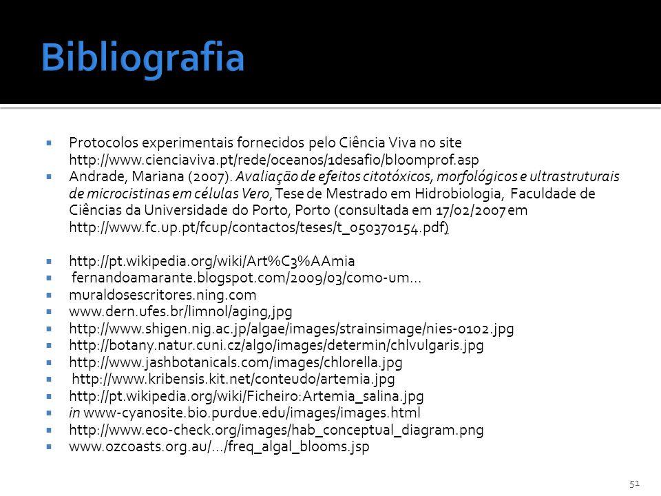 Protocolos experimentais fornecidos pelo Ciência Viva no site http://www.cienciaviva.pt/rede/oceanos/1desafio/bloomprof.asp Andrade, Mariana (2007). A