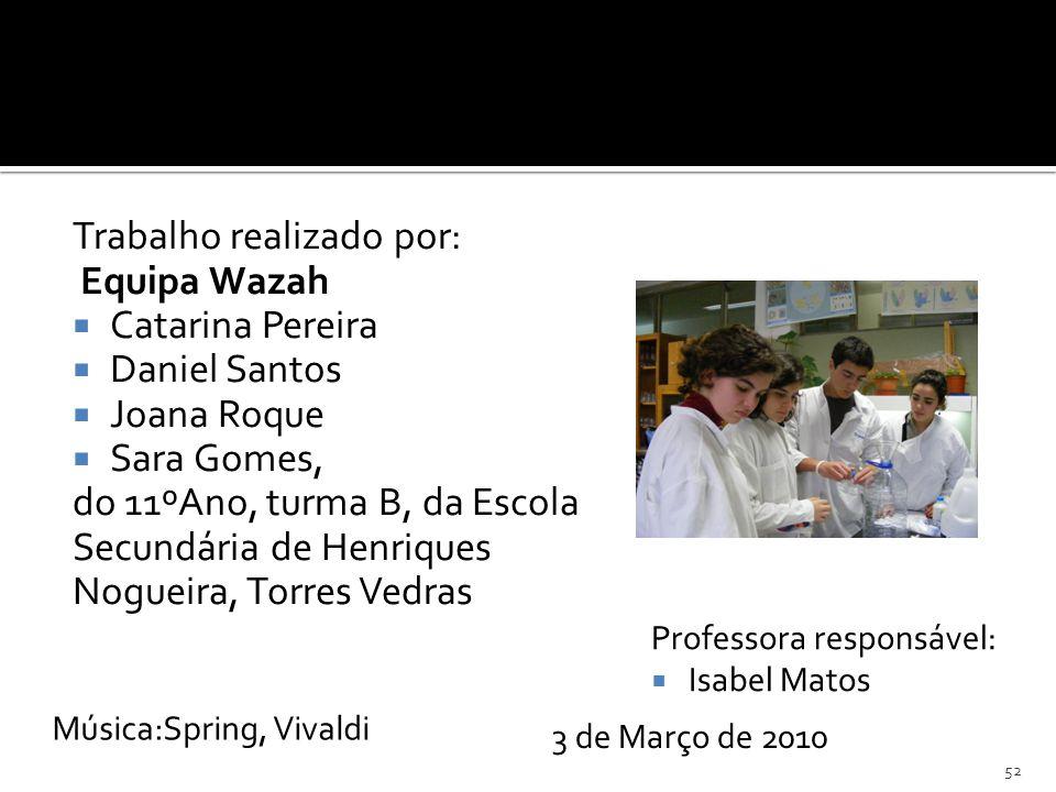 Trabalho realizado por: Equipa Wazah Catarina Pereira Daniel Santos Joana Roque Sara Gomes, do 11ºAno, turma B, da Escola Secundária de Henriques Nogu
