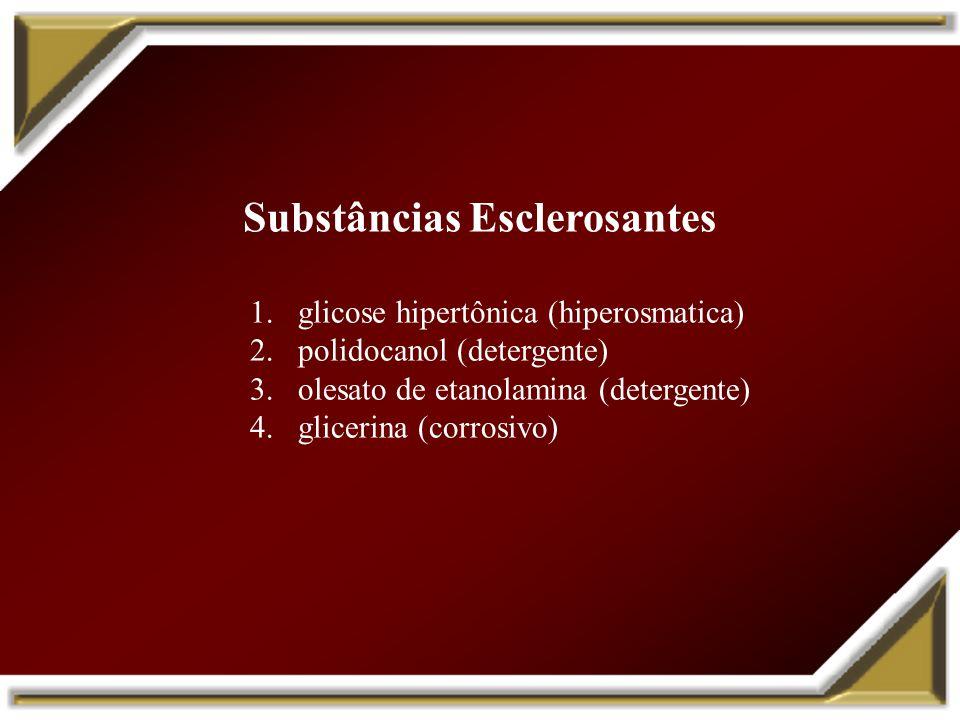 Substâncias Esclerosantes 1.glicose hipertônica (hiperosmatica) 2.polidocanol (detergente) 3.olesato de etanolamina (detergente) 4.glicerina (corrosiv