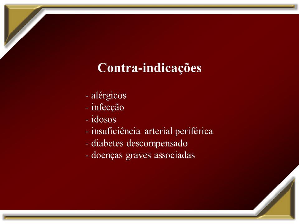 Contra-indicações - alérgicos - infecção - idosos - insuficiência arterial periférica - diabetes descompensado - doenças graves associadas