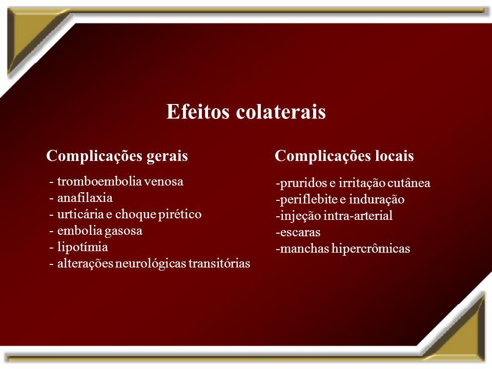 Efeitos colaterais - tromboembolia venosa - anafilaxia - urticária e choque pirético - embolia gasosa - lipotímia - alterações neurológicas transitóri